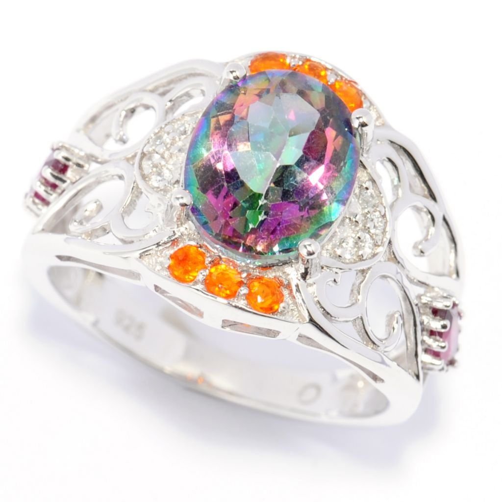 138-605 - Gem Treasures Sterling Silver 3.14ctw Mystic Topaz & Multi Gem Scrollwork Ring