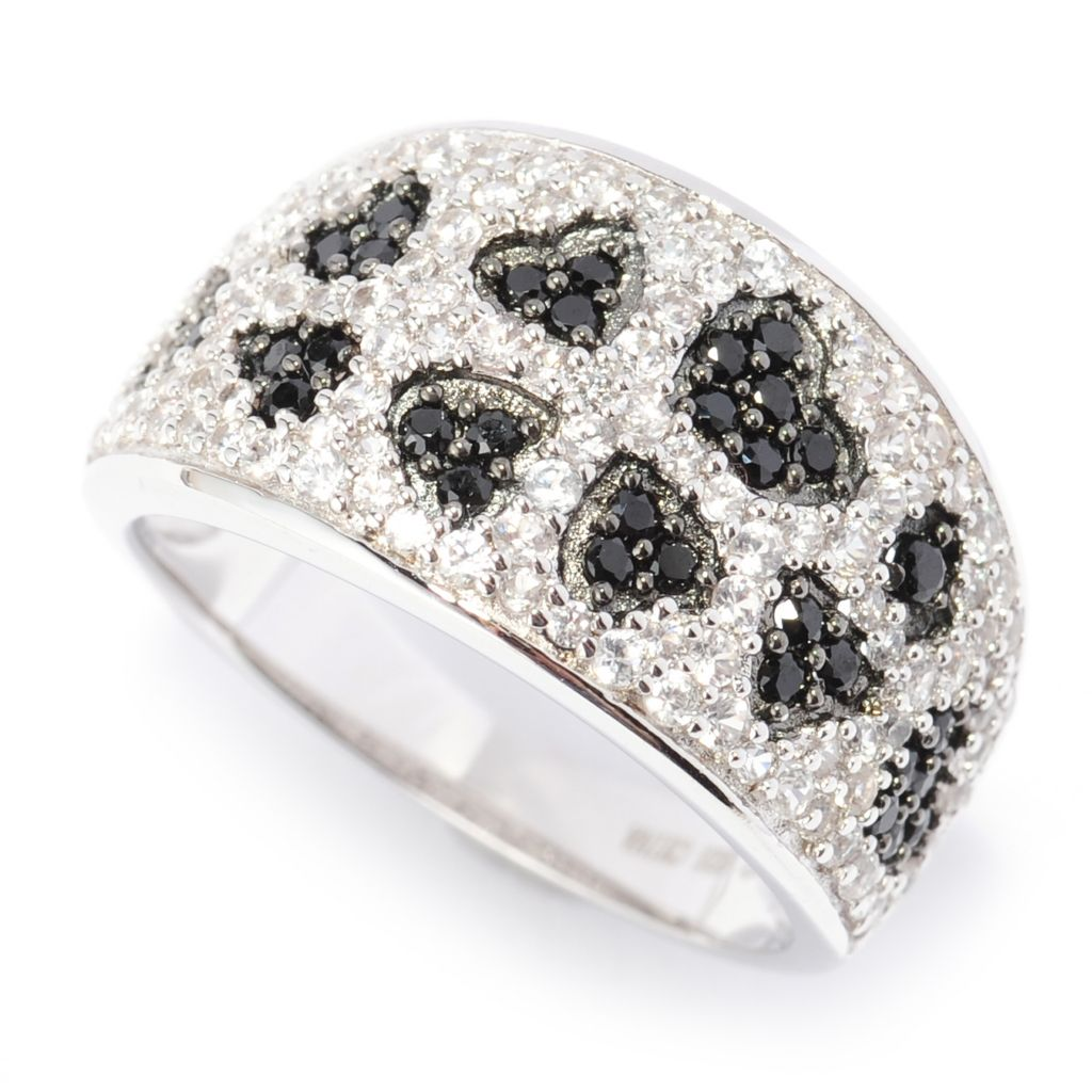 138-610 - Gem Treasures Sterling Silver 1.24ctw Spinel & White Zircon Heart Band Ring