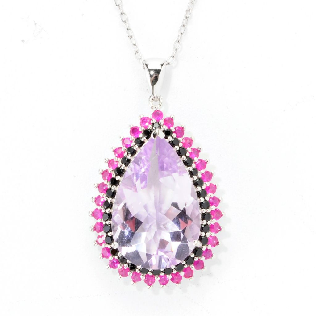 138-611 - Gem Treasures Sterling Silver 9.49ctw Pear Cut Pink Amethyst & Multi Gem Pendant
