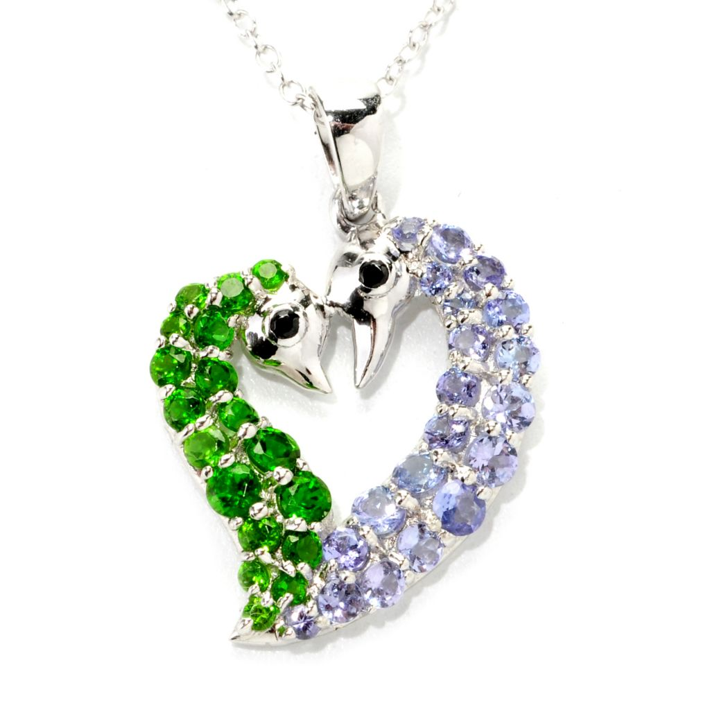 138-613 - Gem Treasures Sterling Silver 1.50ctw Chrome Diopside, Spinel & Tanzanite Pendant