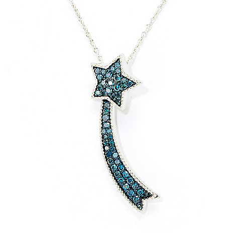 138-615 - Diamond Treasures Sterling Silver 0.49ctw Blue Diamond Shooting Star Pendant
