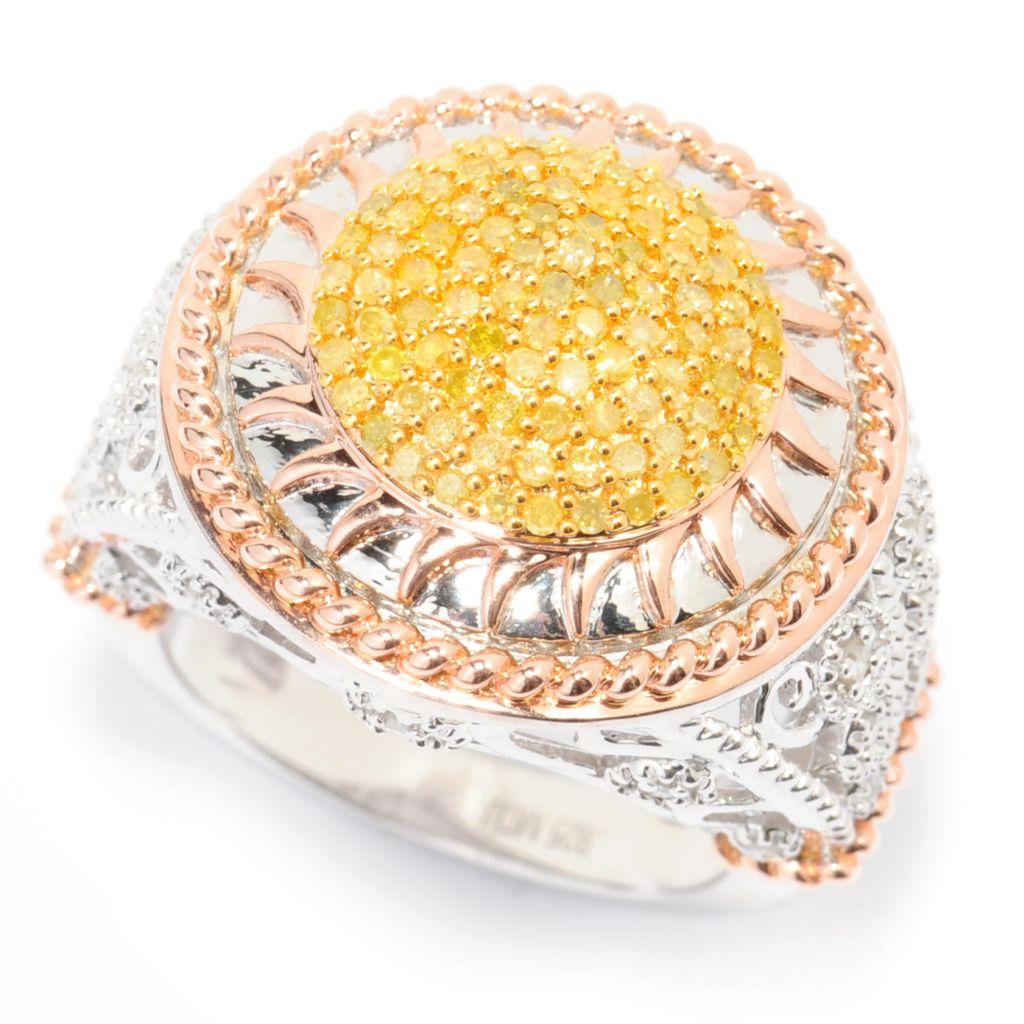 138-626 - Diamond Treasures 0.71ctw Yellow & White Diamond Textured Circle Ring