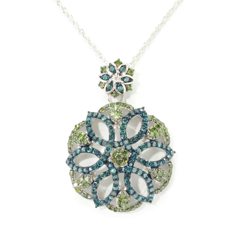 138-629 - Diamond Treasures Sterling Silver 0.95ctw Blue & Green Diamond Floral Pendant
