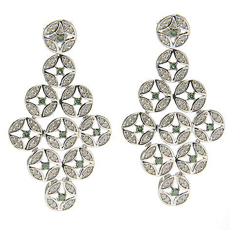 138-632 - Diamond Treasures Sterling Silver 1.5'' 0.98ctw Green & White Diamond Geo Drop Earrings