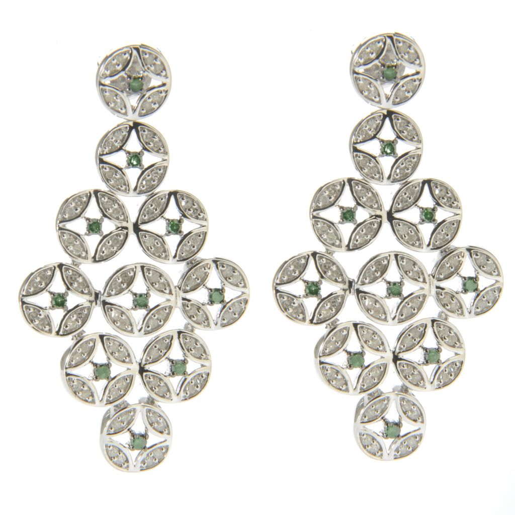 "138-632 - Diamond Treasures Sterling Silver 1.5"" 0.98ctw Green & White Diamond Geo Drop Earrings"
