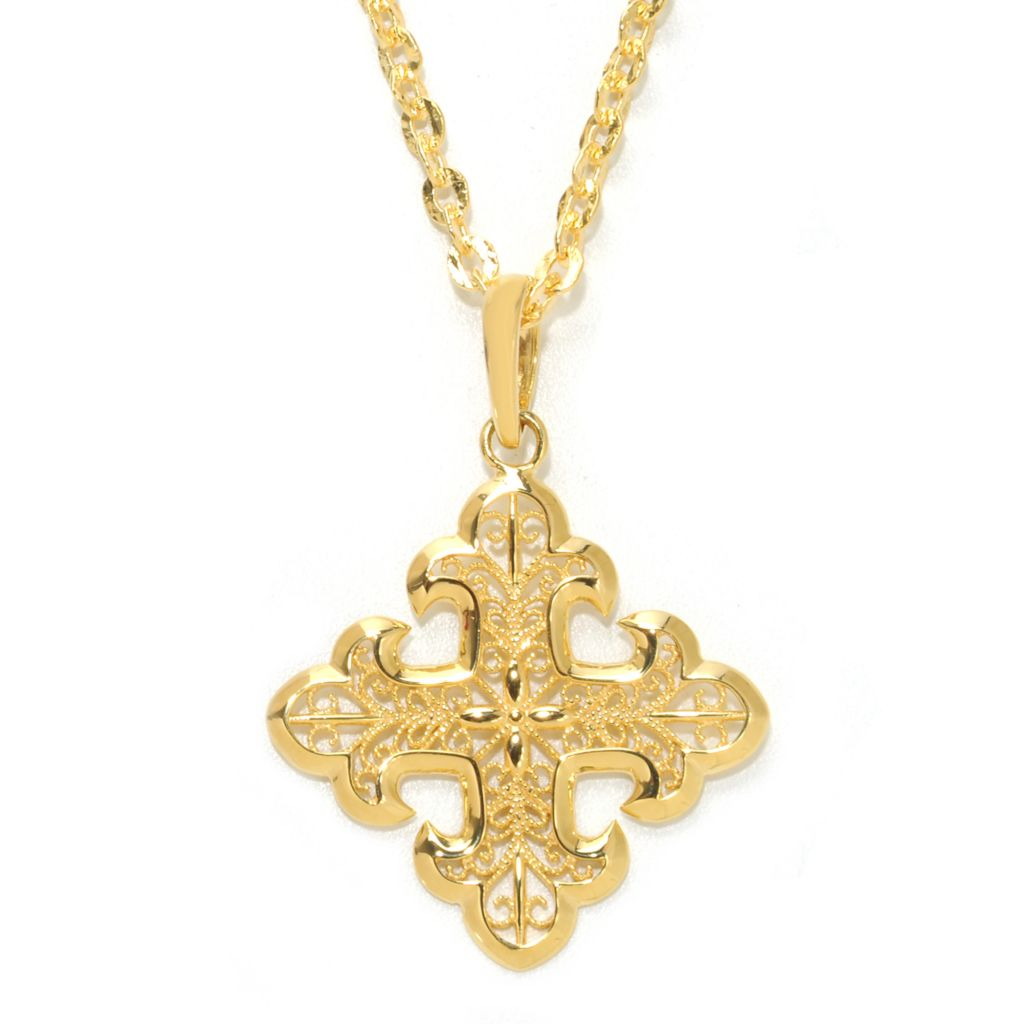 138-636 - Toscana Italiana 18K Gold Embraced™ Filigree Etruscan Cross Enhancer Pendant w/ Chain