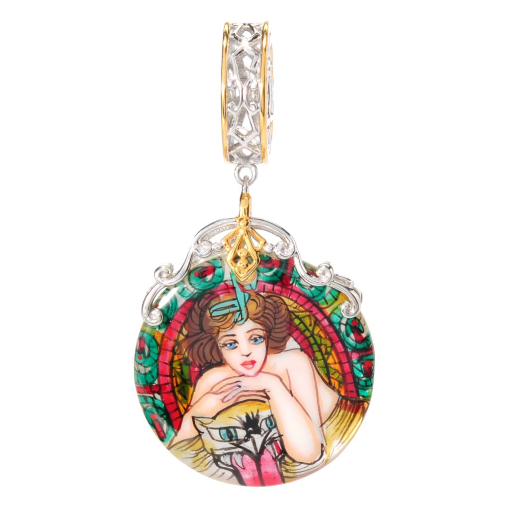 138-639 - Gems en Vogue 22mm Hand-Painted Mother-of-Pearl Artist-Inspired Drop Charm