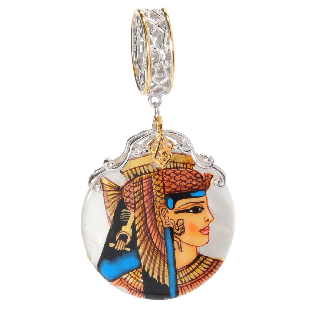 "138-640 - Gems en Vogue II 22mm Hand-Painted Mother-of-Pearl ""Cleopatra"" Drop Charm"