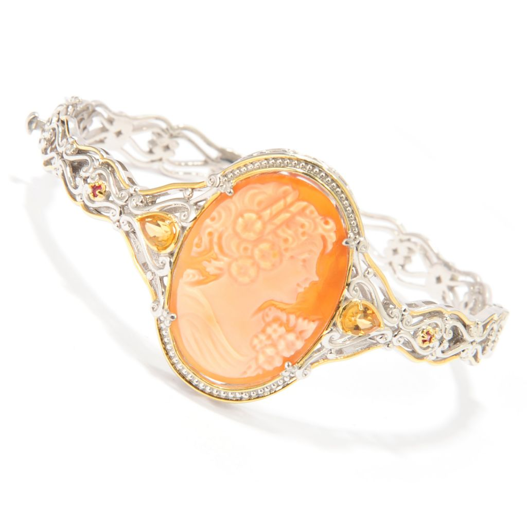 138-644 - Gems en Vogue Hand-Carved Shell Portrait Cameo & Gemstone Hinged Bangle Bracelet