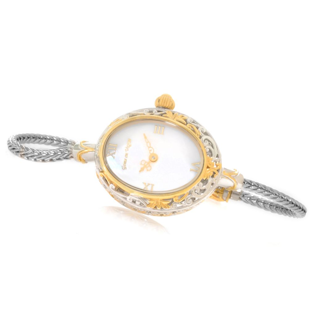 138-645 - Gems en Vogue Mother-of-Pearl Wheat Chain Charm Bracelet Watch w/ Twist-off Clasp
