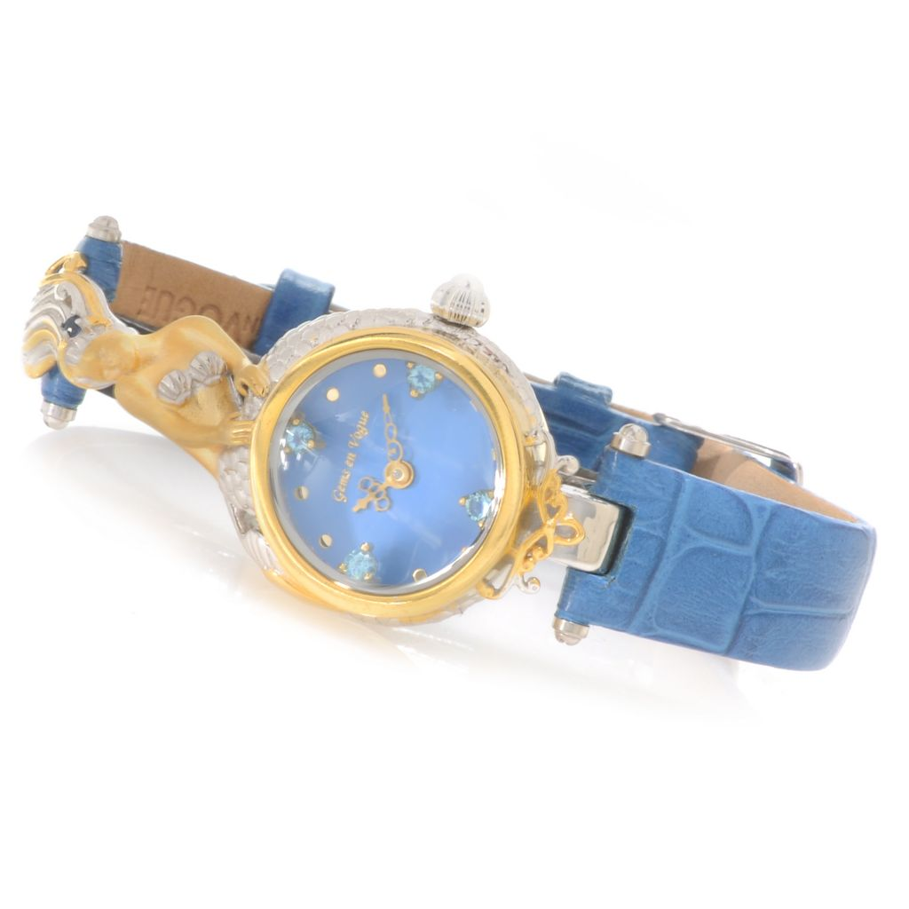 138-646 - Gems en Vogue II Multi Gemstone Sculpted Mermaid Leather Strap Watch
