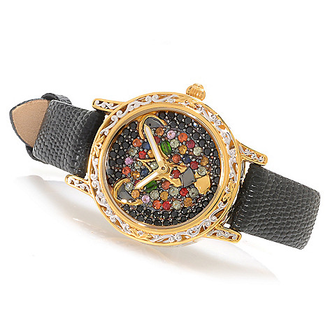 138-647 - Gems en Vogue Women's Multi Gemstone Panther Leather Strap Watch