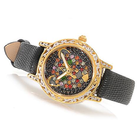 138-647 - Gems en Vogue Women's Multi Gemstone Panther Leather Strap Watch