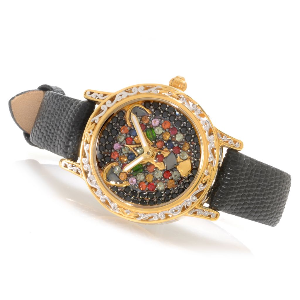 138-647 - Gems en Vogue II Women's Multi Gemstone Panther Leather Strap Watch
