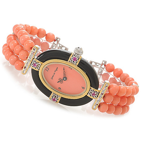 138-648 - Gems en Vogue Women's Bamboo Coral, Onyx & Ruby Three-Row Beaded Bracelet Watch