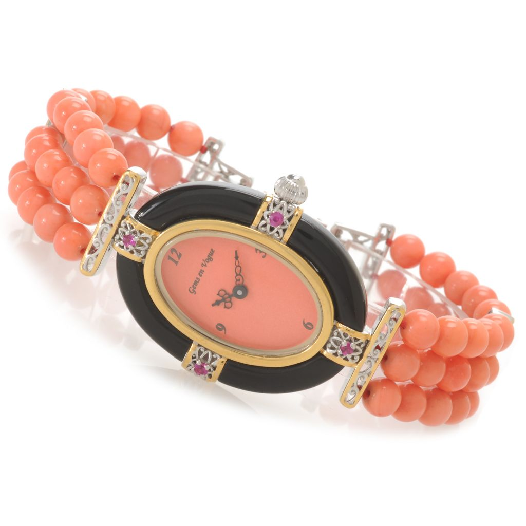 138-648 - Gems en Vogue II Women's Bamboo Coral, Onyx & Ruby Three-Row Beaded Bracelet Watch