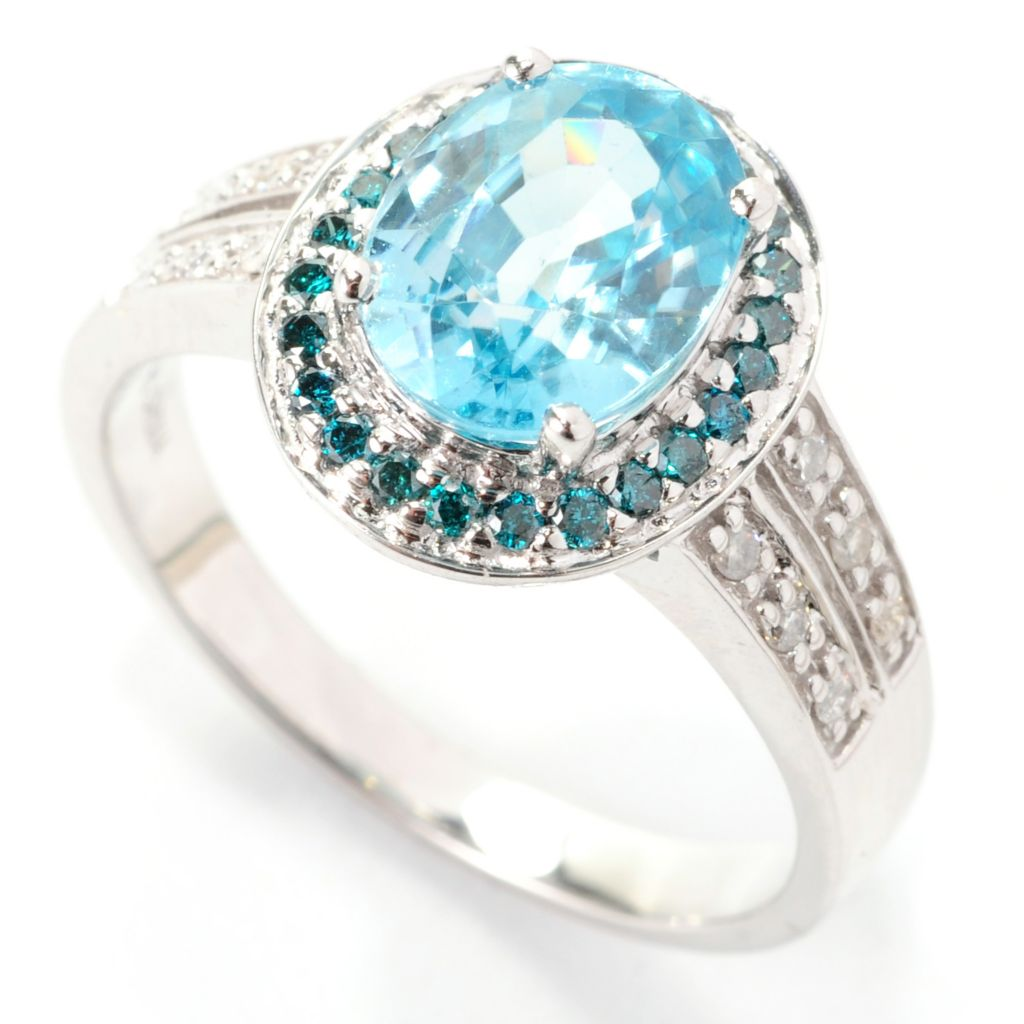 138-651 - Gem Treasures 14K White Gold 2.99ctw Blue Zircon & Multi Diamond Halo Ring