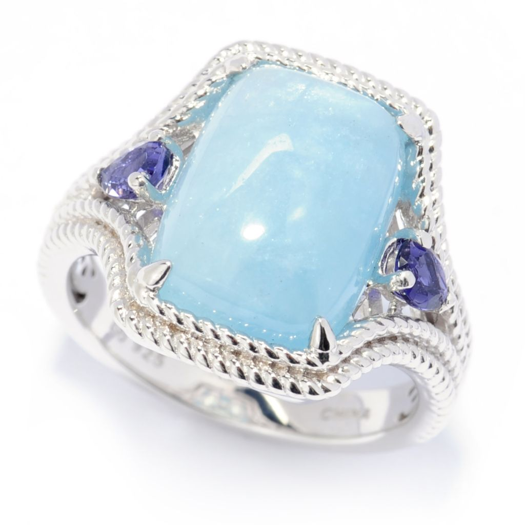 138-652 - Gem Treasures Sterling Silver 14 x 10mm Aquamarine & Iolite Ring