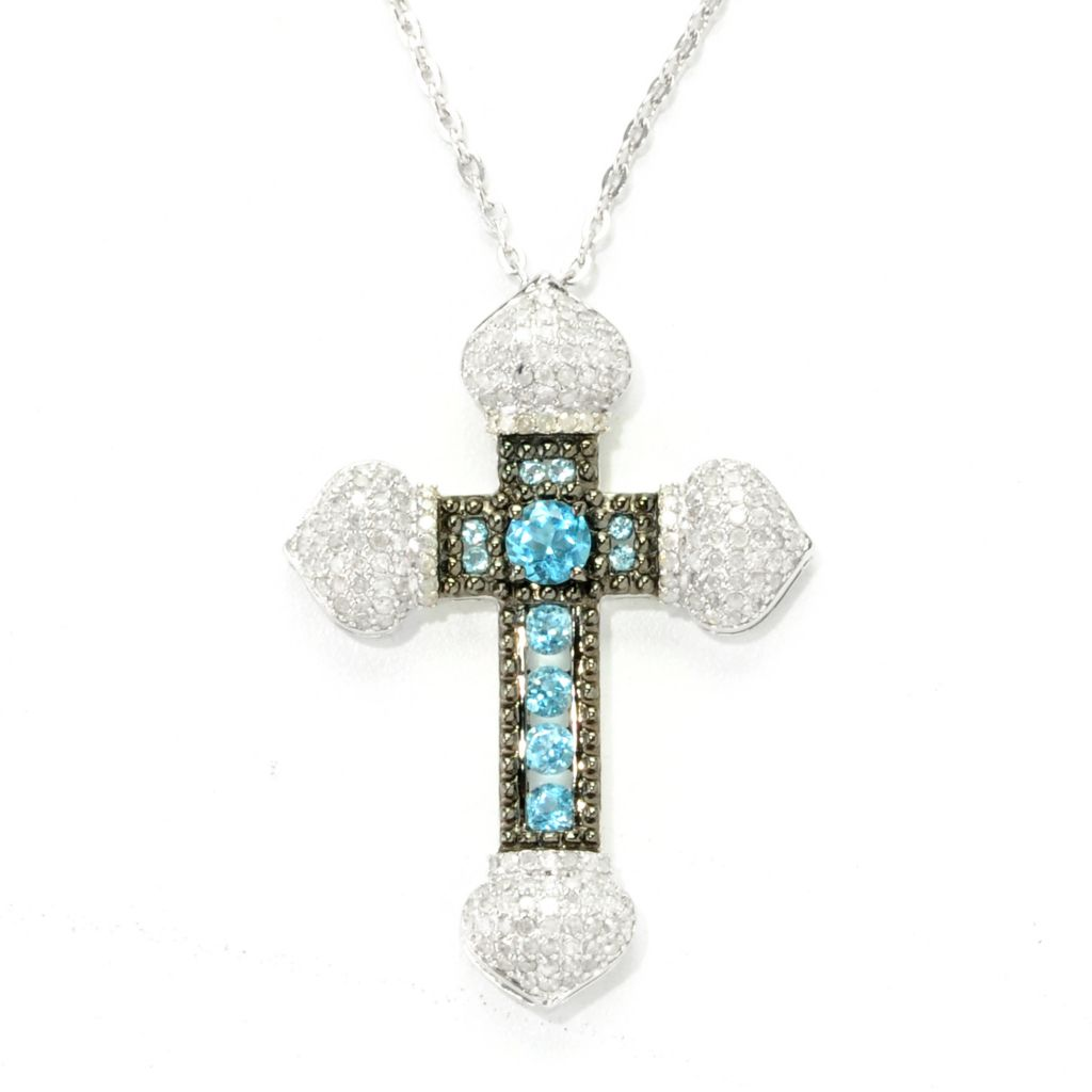 138-653 - Gem Treasures Sterling Silver 1.38ctw Diamond & Swiss Blue Topaz Cross Pendant