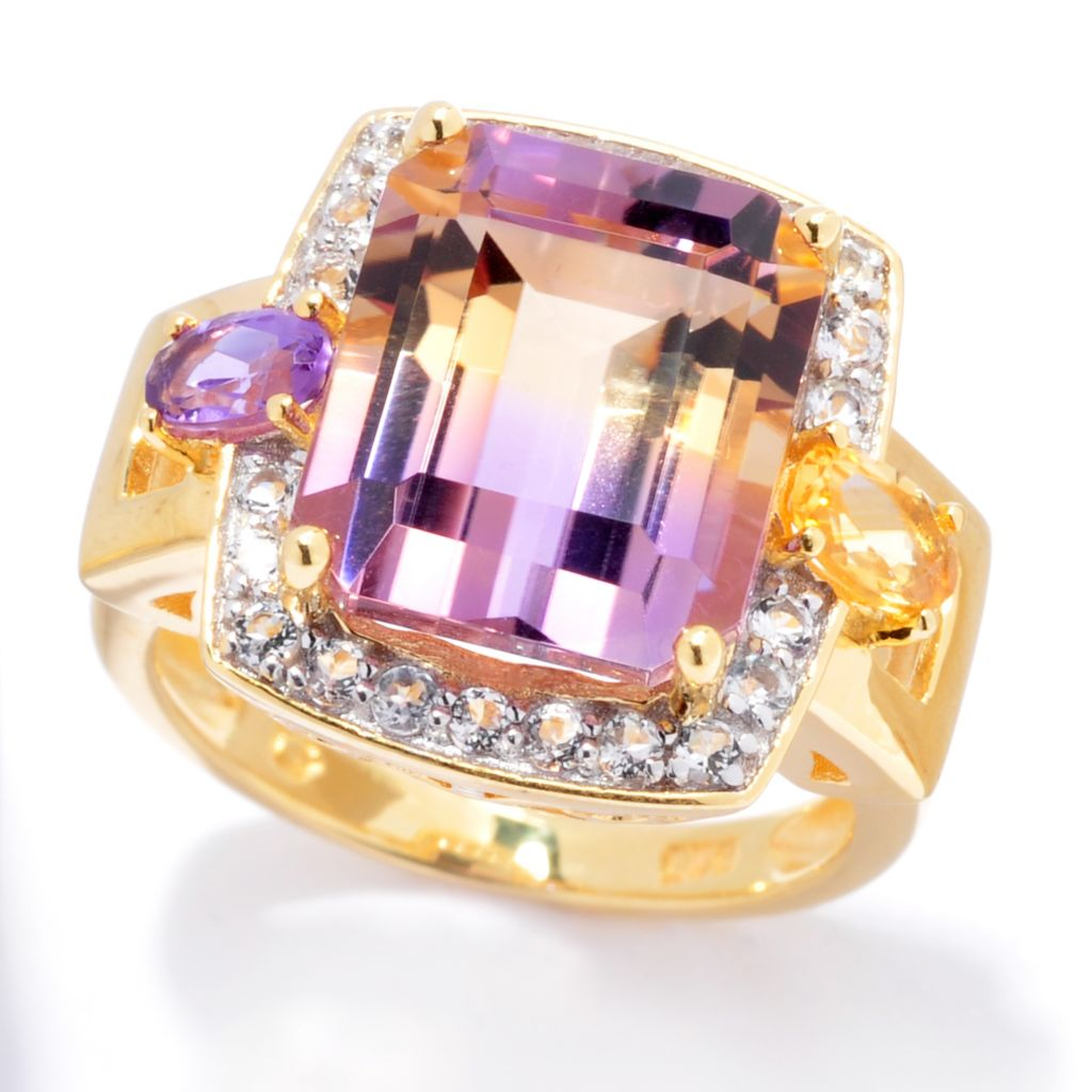 138-654 - NYC II 5.74ctw Emerald Cut Ametrine & Multi Gemstone Halo Ring