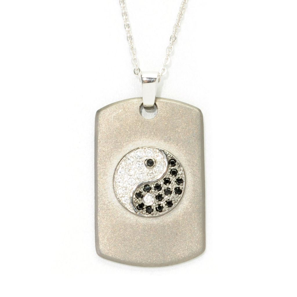 138-656 - Gem Treasures Sterling Silver 0.42ctw Gemstone Symbolic Dog Tag Pendant w/ Chain