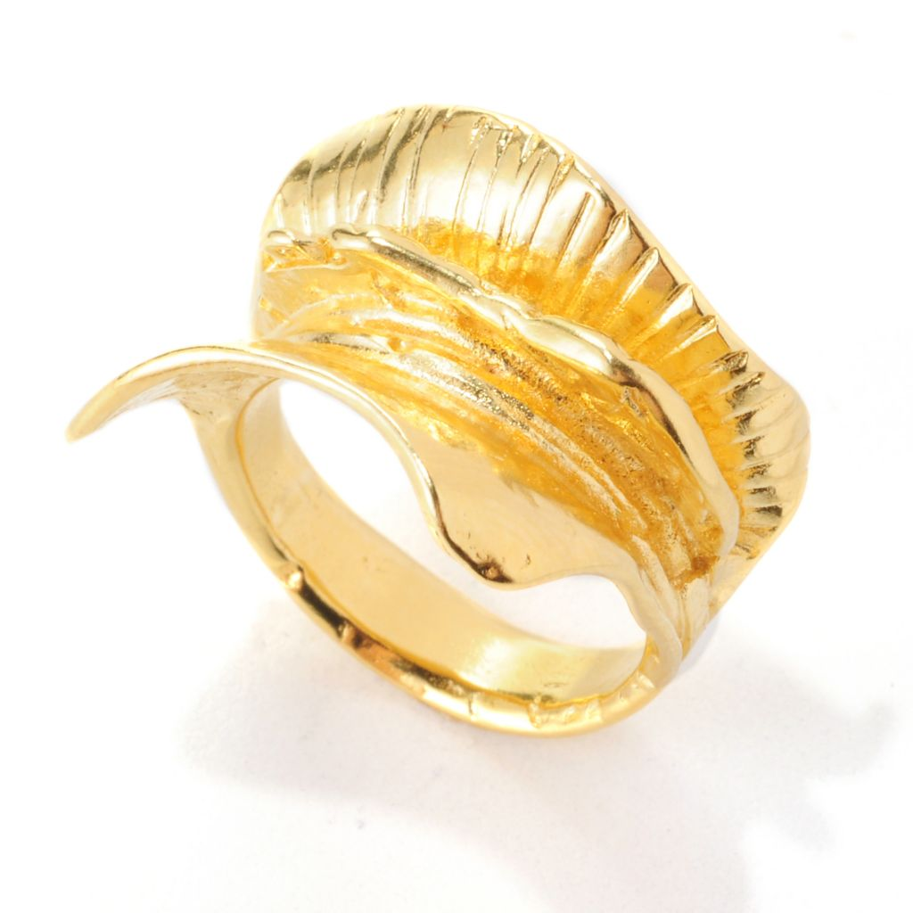 138-658 - Yam Zahav™ 18K Gold Embraced™ Textured & Curved Multi Layer Ring