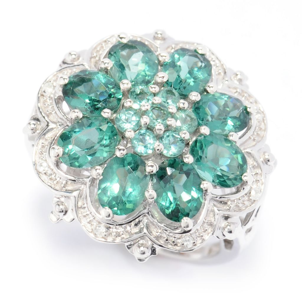 138-660 - NYC II 2.57ctw Teal Apatite & White Zircon Flower Ring