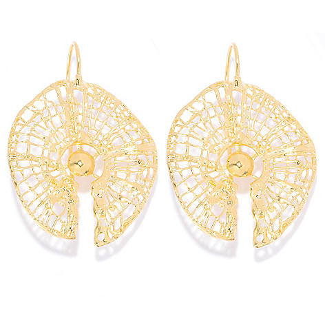 138-662 - Yam Zahav™ 18K Gold Embraced™ 1.75'' Polished & Textured Web Earrings