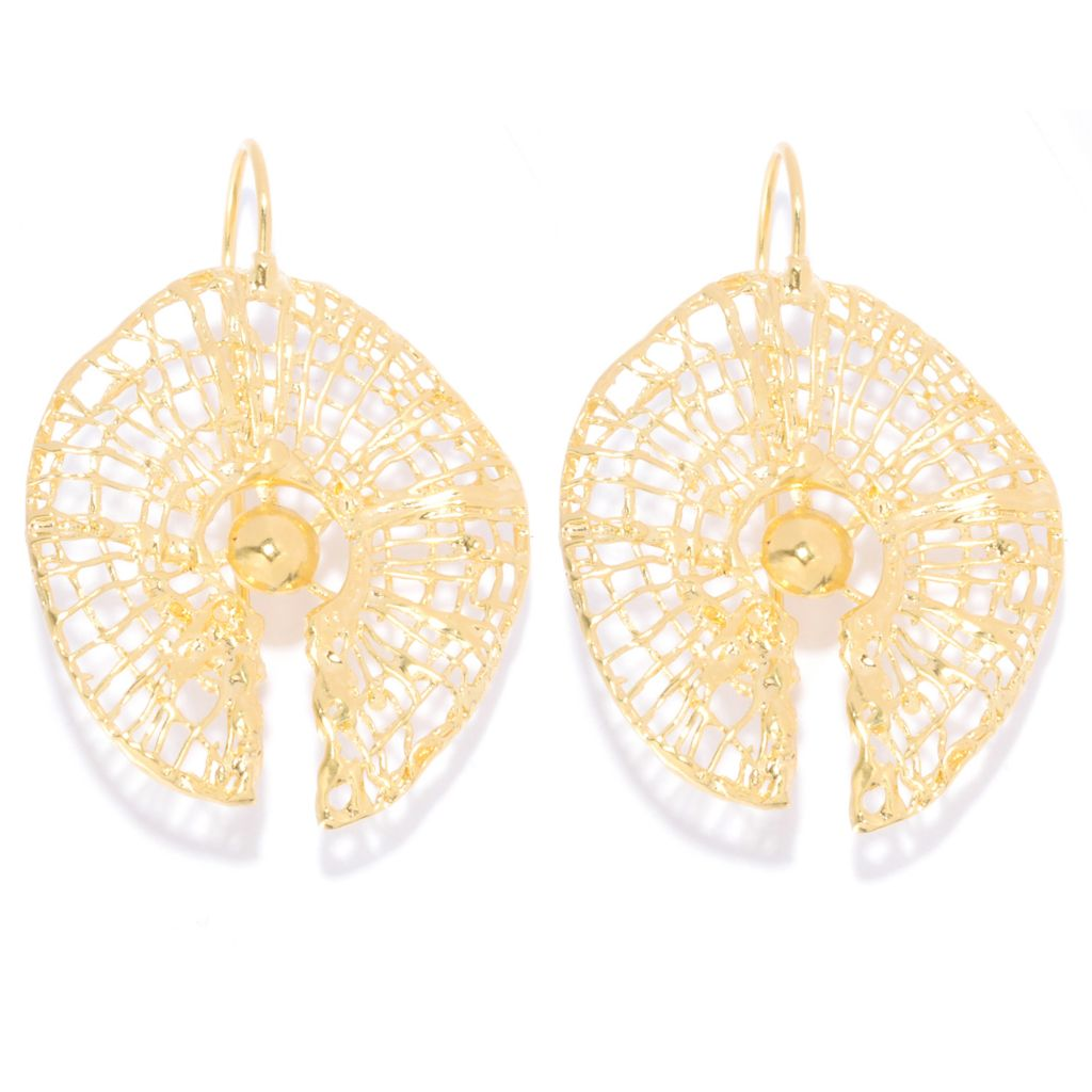 "138-662 - Yam Zahav™ 18K Gold Embraced™ 1.75"" Polished & Textured Web Earrings"