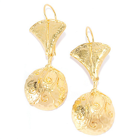 138-663 - Yam Zahav™ 18K Gold Embraced™ 2'' Polished & Textured Swirl Dangle Earrings
