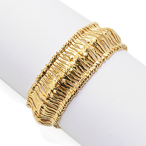 138-665 - Yam Zahav™ 18K Gold Embraced™ Textured Panel Link Toggle Bracelet