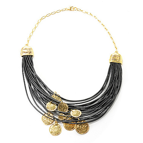 138-668 - Yam Zahav™ 18K Gold Embraced™ 17.75'' Coin Charm & Multi Cord Leather Necklace
