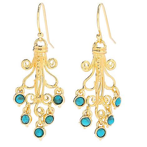 138-673 - Yam Zahav™ 18K Gold Embraced™ 1.75'' Turquoise Chandelier Earrings