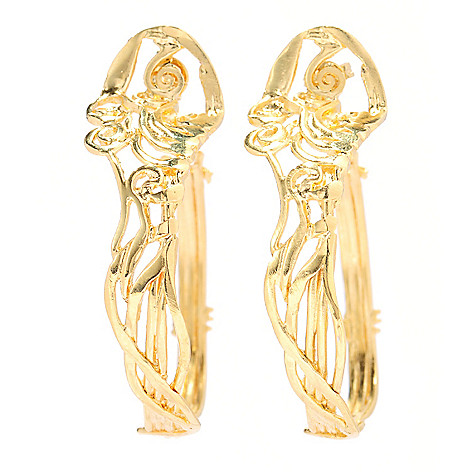 138-674 - Yam Zahav™ 18K Gold Embraced™ 1.75'' Polished Swirl Hoop Earrings
