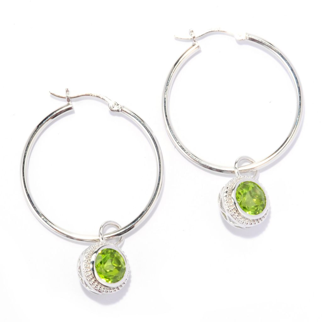"138-678 - Gem Treasures Sterling Silver 1.75"" 4.50ctw Peridot Charm Hoop Earrings"
