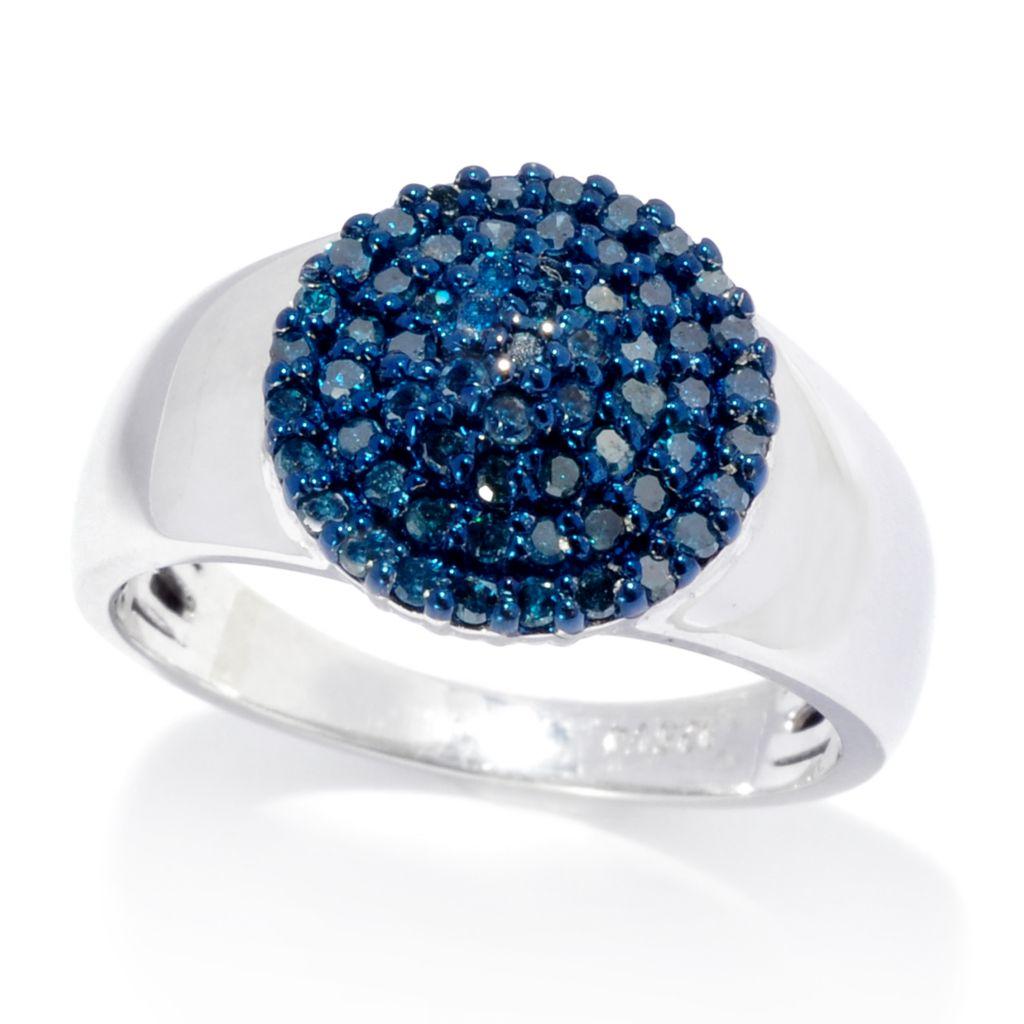 138-687 - Diamond Treasures Sterling Silver 0.45ctw Blue Diamond Circle Ring