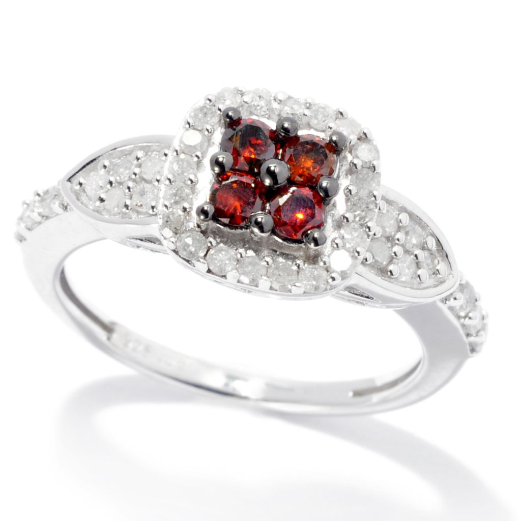 138-688 - Diamond Treasures Sterling Silver 0.67ctw Red & White Diamond Square Frame Ring