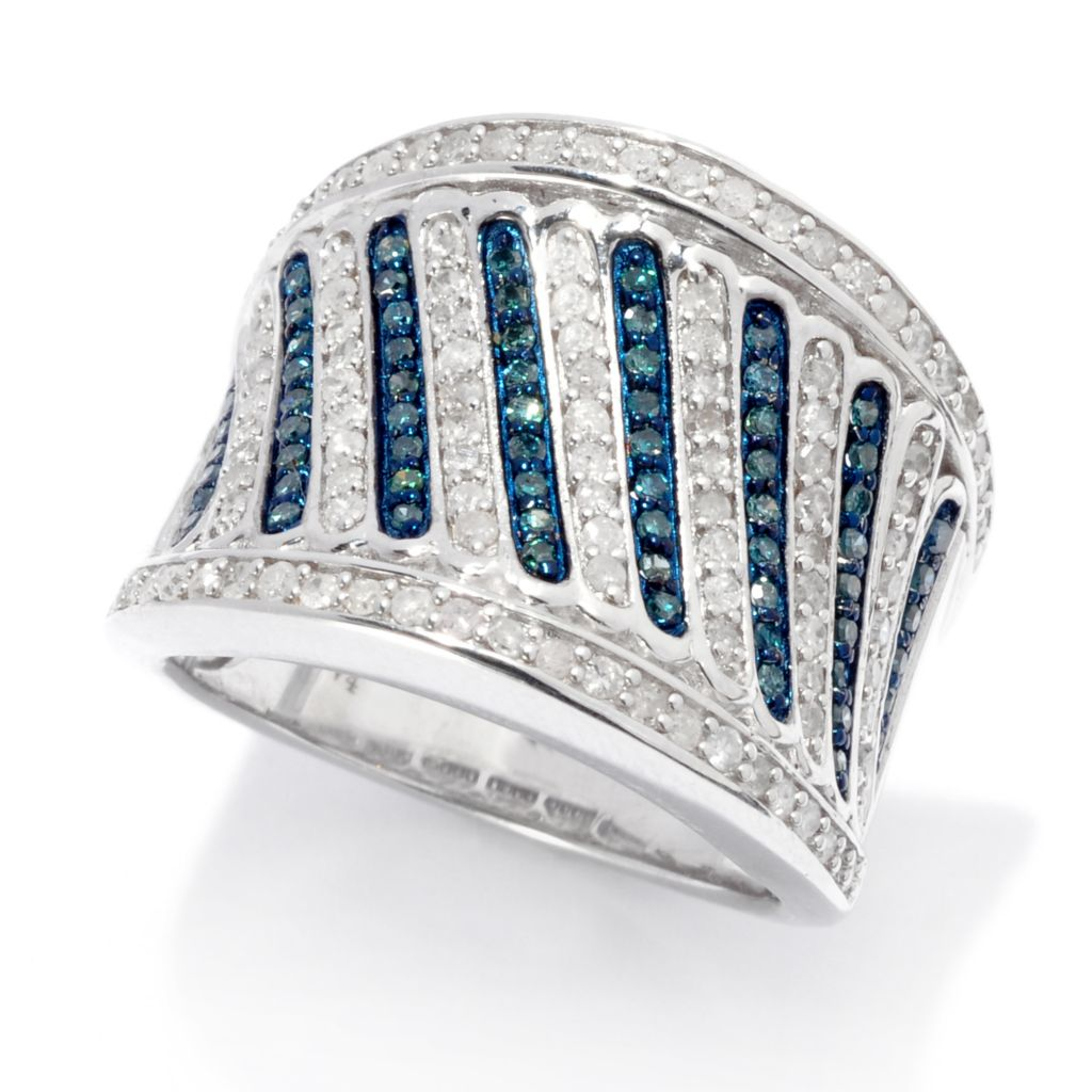 138-689 - Diamond Treasures Sterling Silver 0.95ctw Blue & White Diamond Diagonal Ring