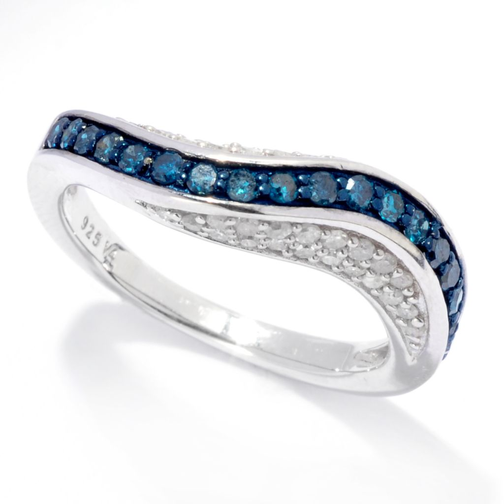 138-690 - Diamond Treasures Sterling Silver 0.70ctw Blue & White Diamond Wavy Band Ring