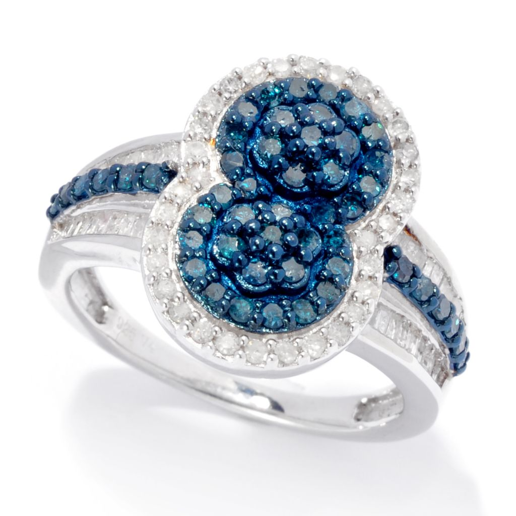 138-691 - Diamond Treasures Sterling Silver 1.10ctw Blue & White Diamond North-South Ring