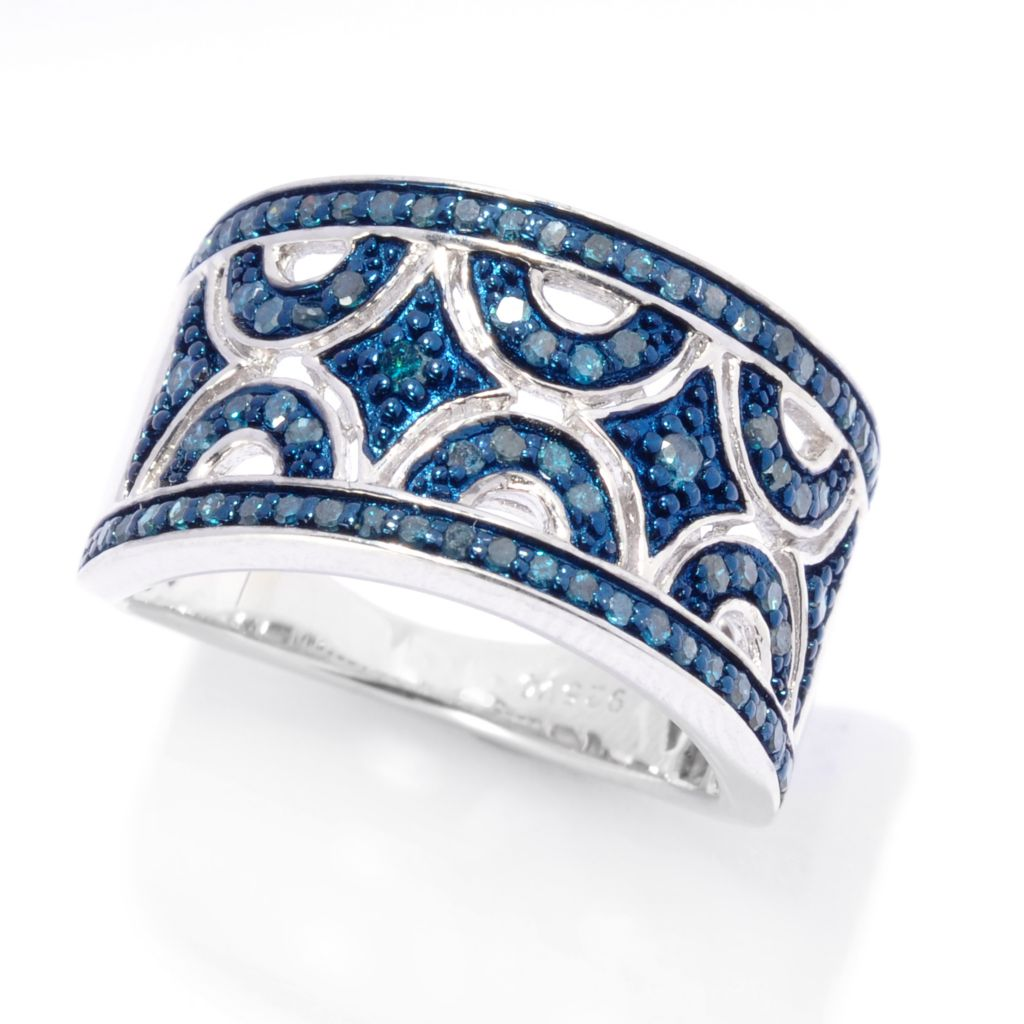 138-694 - Diamond Treasures Sterling Silver 0.46ctw Blue Diamond Geo Cut-out Ring
