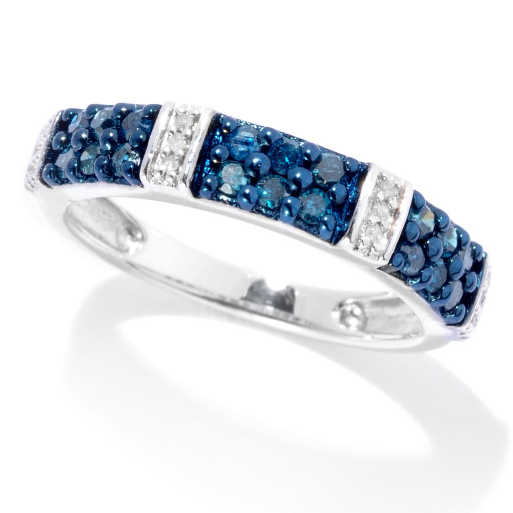 138-695 - Diamond Treasures Sterling Silver 0.42ctw Blue & White Diamond Station Band Ring