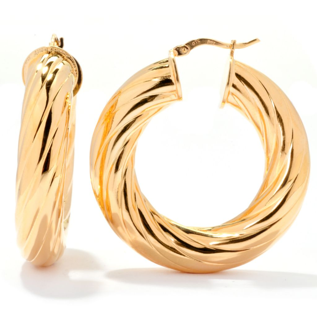 "138-698 - Dettaglio™ 18K Gold Embraced™ 1.5"" Polished & Diamond Cut Twist Hoop Earrings"