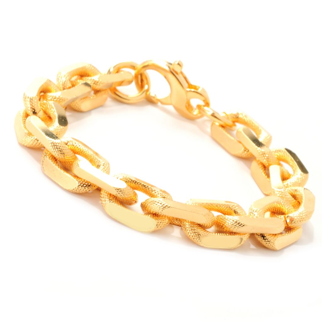 "138-702 - Dettaglio™ 18K Gold Embraced™ 7.5"" Textured & Polished Cable Link Bracelet"