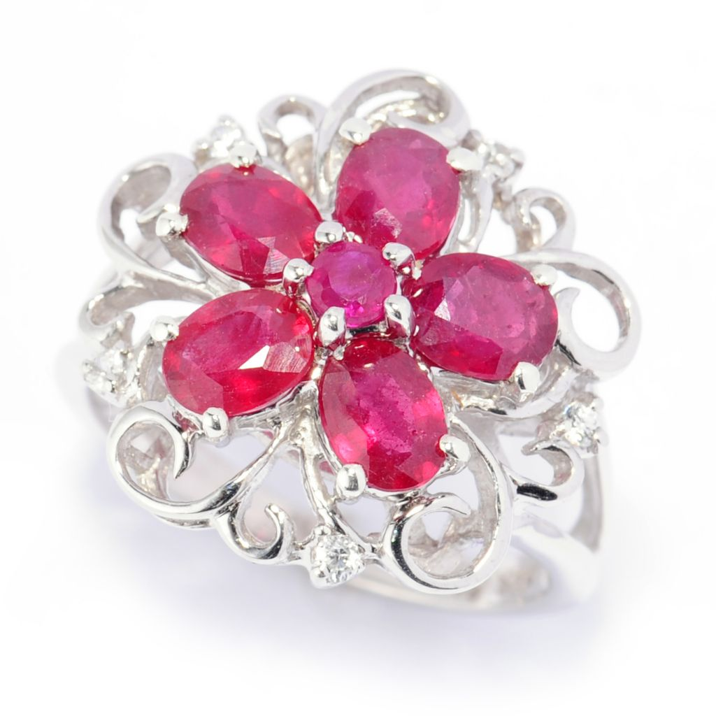 138-709 - NYC II 2.08ctw Innova™ Ruby & White Zircon Flower Ring