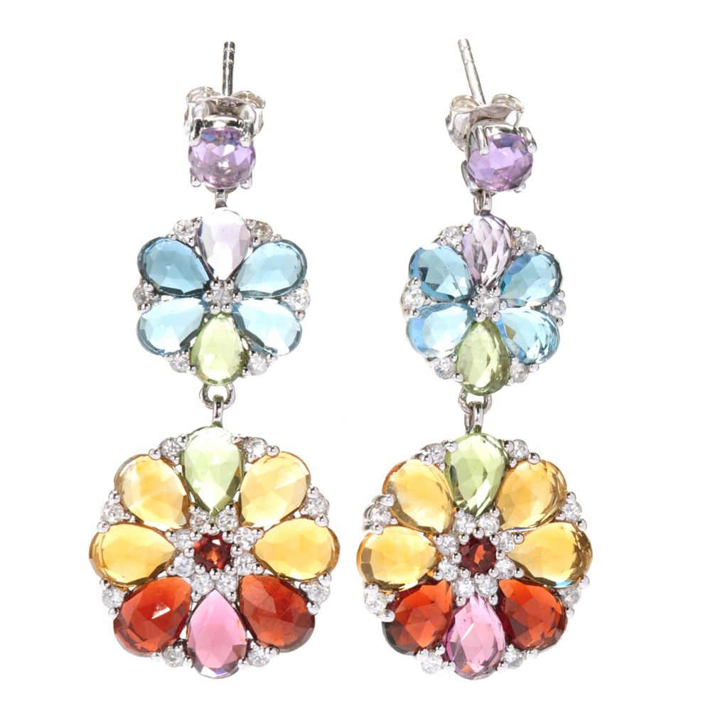 138-710 - NYC II 16.16ctw Rose Cut Multi Gemstone Double Flower Drop Earrings