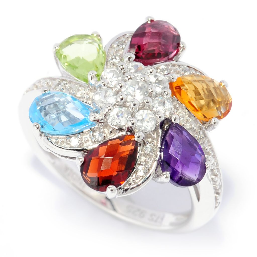 138-711 - NYC II 2.66ctw Rose Cut Multi Gemstone Flower Swirl Ring