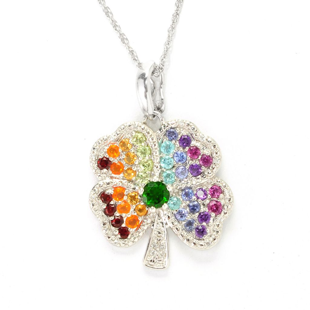 "138-713 - NYC II 1.83ctw Multi Gemstone Four-Leaf Clover Enhancer Pendant w/ 18"" Chain"