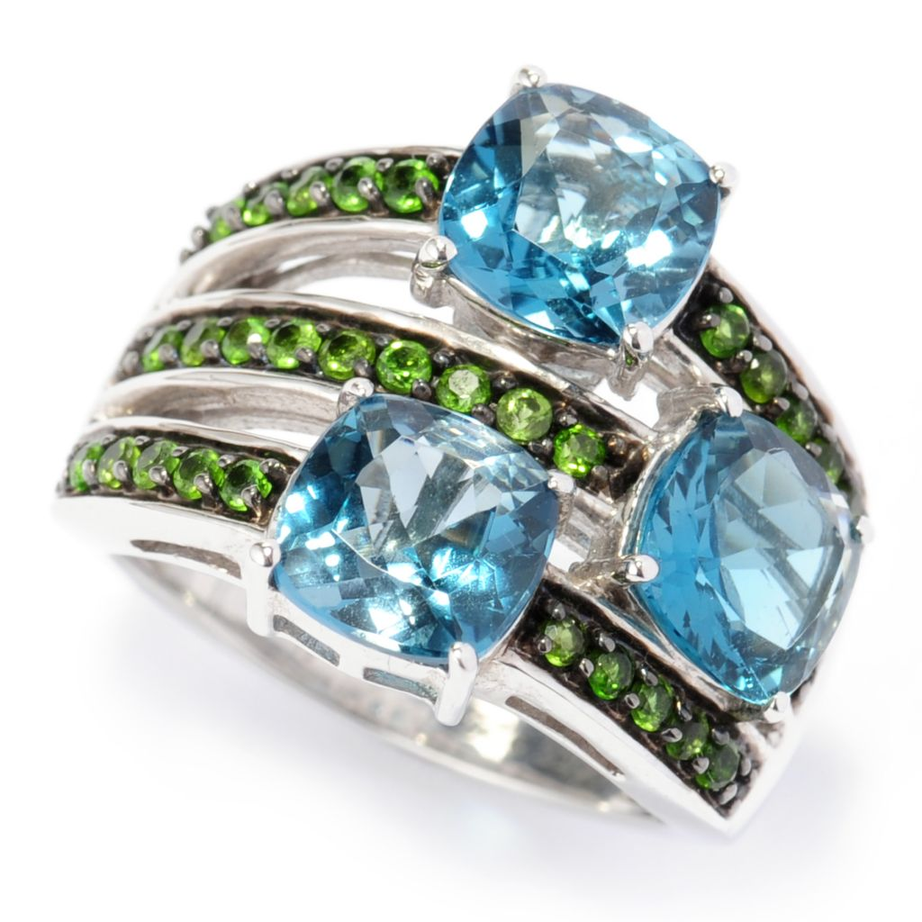 138-715 - NYC II 4.68ctw London Blue Topaz & Chrome Diopside Trio Ring