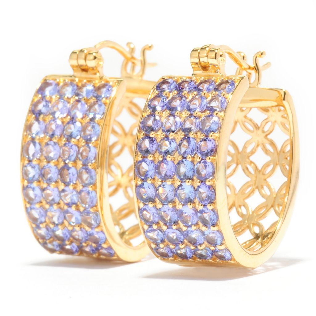 "138-716 - NYC II 1"" 4.32ctw Round Tanzanite Four-Row Wide Hoop Earrings"